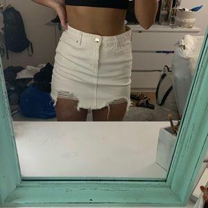 F21 White distressed denim skirt